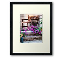 Pink Petunias and Watering Cans Framed Print
