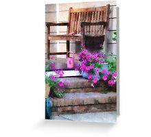 Pink Petunias and Watering Cans Greeting Card