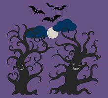 Dancing and smiling fantasy trees by kylmaviha