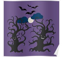 Dancing and smiling fantasy trees Poster
