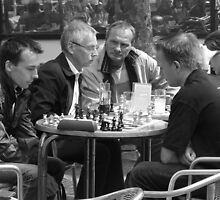 chess players bw by LisaBeth