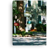 House With Turquoise Shutters Canvas Print