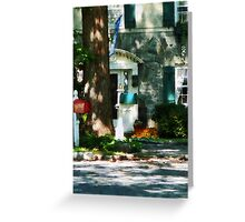 House With Turquoise Shutters Greeting Card