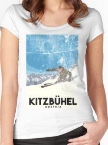 Ski Kitzbühel Austria (eroded) Women's Fitted Scoop T-Shirt