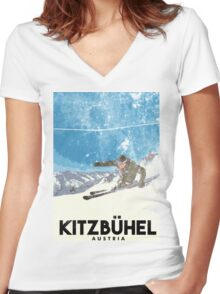 Ski Kitzbühel Austria (eroded) Women's Fitted V-Neck T-Shirt