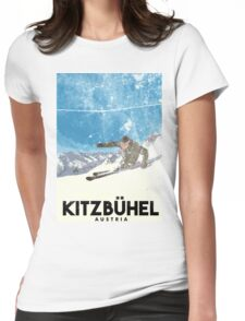 Ski Kitzbühel Austria (eroded) Womens Fitted T-Shirt