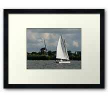 Boat& Windmill Framed Print