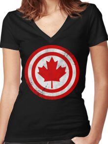 Captain Canada (Distressed) Women's Fitted V-Neck T-Shirt