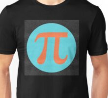 First 10,000 digits of Pi, blue and orange. Unisex T-Shirt