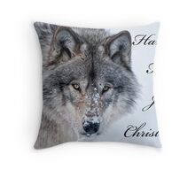Christmas Card - Timber Wolf Throw Pillow