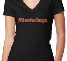 #Busterhugs Women's Fitted V-Neck T-Shirt