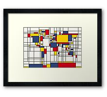 World Map Abstract Mondrian Style Framed Print