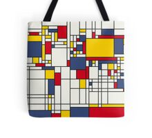 World Map Abstract Mondrian Style Tote Bag
