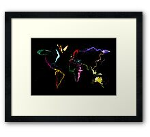 World Map Abstract Paint Framed Print