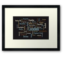 London Text Typographic Map Framed Print