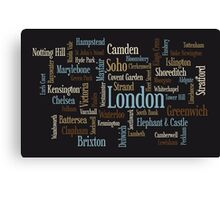 London Text Typographic Map Canvas Print