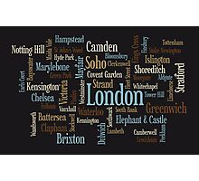 London Text Typographic Map Photographic Print