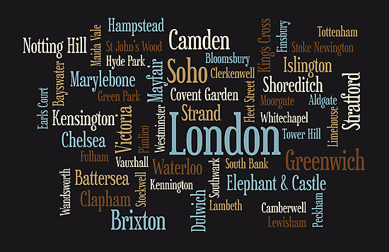 London Text Typographic Map by Michael Tompsett