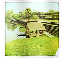 Wooden dock by Cambodian ruins Poster