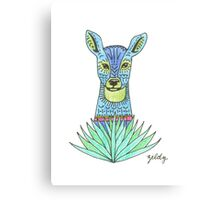 Patterned Blue Deer with Grass Canvas Print