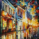 GLOWING RAIN - original oil painting on canvas by Leonid Afremov by Leonid  Afremov