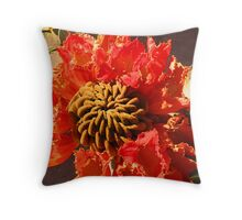 Tropical blossom in orange and brown - Flor tropical en naranja y cafe Throw Pillow