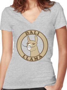 Dali Llama Women's Fitted V-Neck T-Shirt