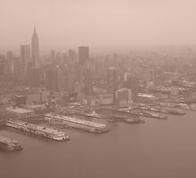 Manhattan Skyline - Sepia Delight, New York by Sarah Louise English