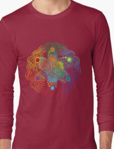 Black Background with 6 Color Design Long Sleeve T-Shirt