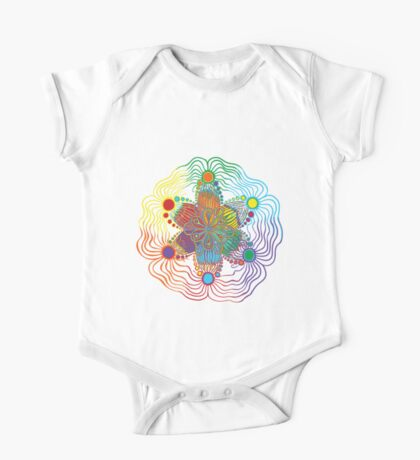 Black Background with 6 Color Design One Piece - Short Sleeve