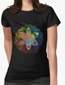 Black Background with 6 Color Design Womens Fitted T-Shirt
