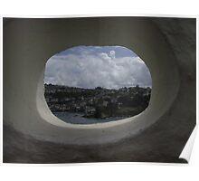 Through a hole Fowey Cornwall Poster