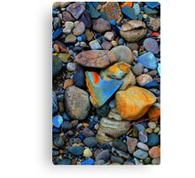 River Gravels and Rocks, River Tees, England Canvas Print