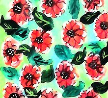 Wall paper of flowers, watercolor by Anna  Lewis