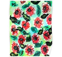 Wall paper of flowers, watercolor Poster