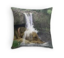 Giant Dog laying under Rainbow Falls Throw Pillow