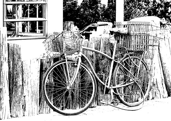 Bicycle in Black and White by Debbie Pinard