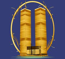 Gold Twin Towers Oval Unisex T-Shirt