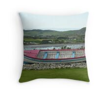 A Retired Boat Beside The Water Throw Pillow