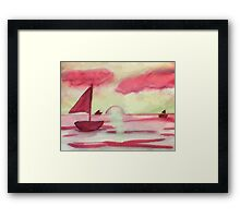Tranquil sunset, watercolor Framed Print