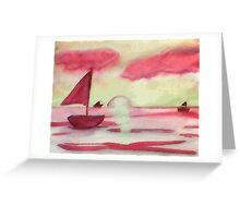 Tranquil sunset, watercolor Greeting Card