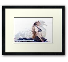 woman in yoga pose inside pigeon Framed Print