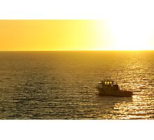 Cray boat in the sunset Photographic Print