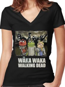 The Waka Waka Walking Dead Women's Fitted V-Neck T-Shirt