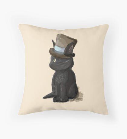 Cat In A Hat Gentleman Kitty Throw Pillow
