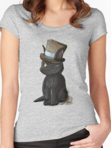 Cat In A Hat Gentleman Kitty Women's Fitted Scoop T-Shirt