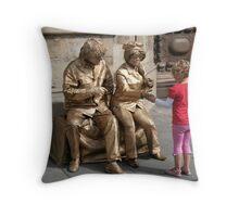 John and Yoko greet child Throw Pillow