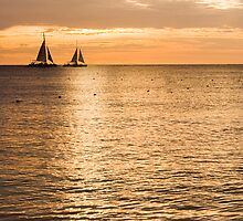 Sails in the Sunset Aruba  by John  Kapusta