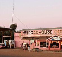 Pink Roadhouse, Oodnadatta by buildings