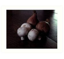 French Shallots and Mushrooms in Morning Light Art Print